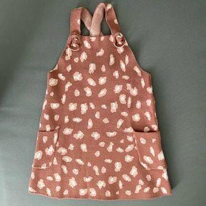 NWT Zara Leopard Print Sweater Knit Overall Dress